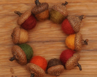 Felted Acorns OR Acorn Ornaments in Fall Colors,  Set of 10 Wool Acorns
