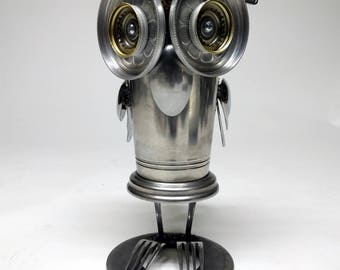 Assemblage Robot Owl Sculpture By Jones Robo-Works