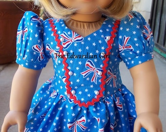 OOAK 1930s 1940s red, white, blue, patriotic print dress for 18 inch play dolls such as American Girl, Springfield, OG. Made in USA