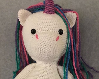 "23""Crocheted Big Cuddly unicorn by crochetbyloraine"