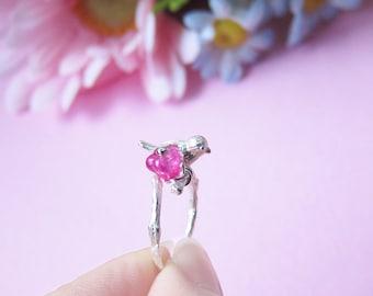 Little Bird and Flower on Tree Branch Ring - Rhodium plated brass, Glass Flower