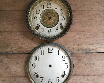2 , Vintage clock faces / distressed and worn / Farmhouse decor / patina