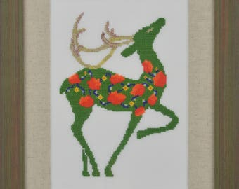 Christmas Deer Modern Cross Stitch Pattern PDF Chart Instant Download  Colorful Pattern