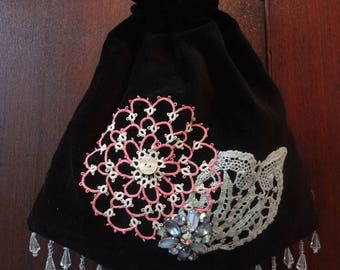 Embellished Black Velvet Velveteen Draw String Purse Bag Upcycled Repurposed Vintage Victorian Look Purse Bag - Atlantic Rock Threads