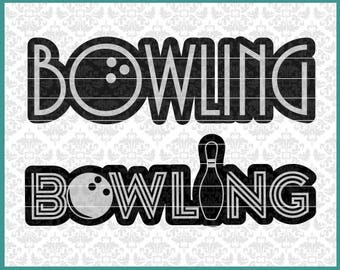 CLN0522 Bowling Bowler Bowl League Spare Strike Turkey Pins SVG DXF Ai Eps PNG Vector Instant Download Commercial Cut File Cricut Silhouette
