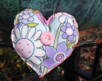 Fabric Heart Brooch