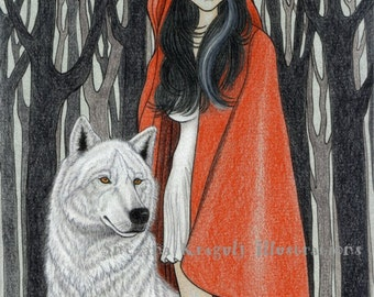 Red Riding Hood-Original Fine Art Drawing-pencils, ink and graphite, fairytale inspiration