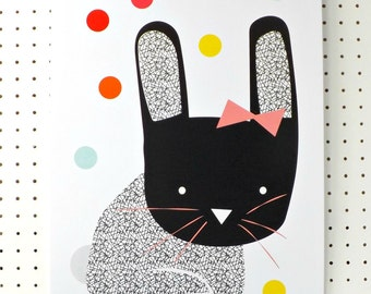 SALE Bunny Print Black White Geometric Easter Red Orange Pink Graphic A3 Poster