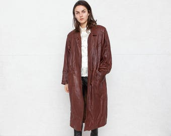 Vintage Brown Leather Long Coat/ Size XL