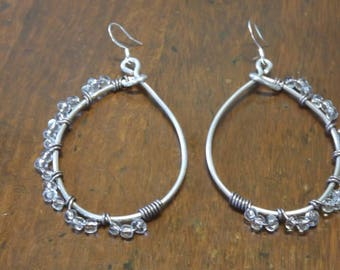 Silver-wire wrapped hoop earrings with beads
