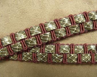 Double Ribbon-1, 8 cm - Burgundy lizard leatherette