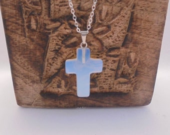 Beautiful natural Opal stone in Lithotherapy cross necklace