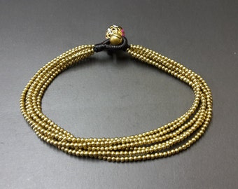 Mini Brass 6 Chain Anklet