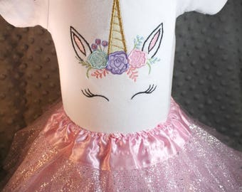 Unicorn Embroidered Baby Bodysuit or Toddler T Shirt