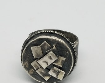 Fused Sterling Silver 100% Handmade Oxidized Ring Size 6.5