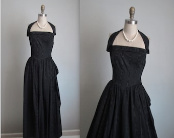 50's Evening Gown // Vintage 1950's Black Moire Taffeta Halter Glamorous Bombshell Evening Gown Dress XS