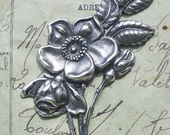 Dogwood flower brass stamping, Sterling Silver Ox Finish, Brass Flowers Made in the USA
