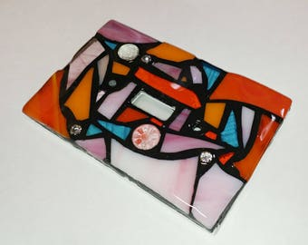 ORAnGEs, PiNKs, & Light BLuE Mix - STAINED Glass MOSAIC Light Switch Cover - single, double, triple, outlet, or decora gfci - made to order
