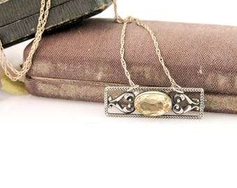 Antique Citrine Pendant | Sterling Silver Citrine Necklace | Antique Sterling Silver Pendant