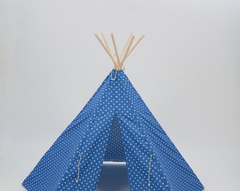 Teepee Play Tent round wood poles included Cobalt Blue  and White Small Cross- 6 panel
