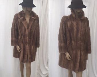 SALE! Vintage Beige Mink Knee Length Fur Coat Vintage Women's Winter Coat