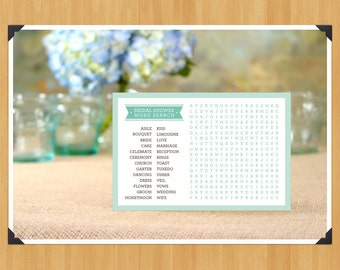 Printable Bridal Shower Word Search, DIY, Instant Download, Mint Green and Brown, Printable PDF