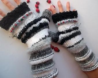 Women L 20% OFF Ready To Ship Bohemian OOAK Mohair Boho Fingerless Warm Wrist Warmers Gloves Crochet Winter Arm Striped Hand Knitted 1140