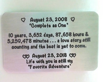 10 ten tin Year Anniversary Gift Card ~ Love Note ~ Credit Card Size for Wallet ~ traditional aluminum gift