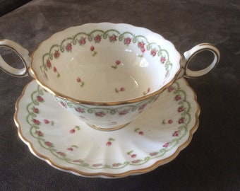 Bullion China Cup and Saucer, George Jones &a Sons Crescent China, England