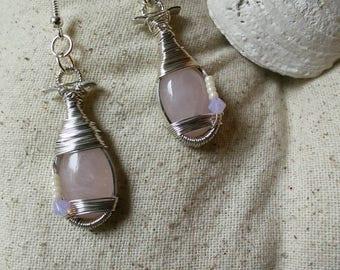 Pink perfection rose quartz earrings