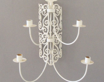 Wrought Iron Wall Candelabra, Shabby Chic Wall Sconce, Large Candle Holder, Ornate, 4 Candles,