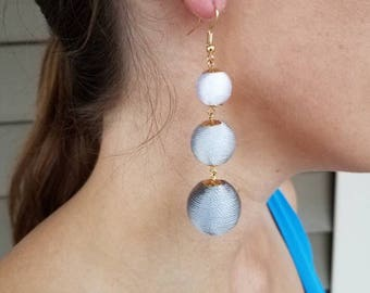 Ball Earrings -threaded ball earrings - drop Earrings - Statement Earrings - gray Earrings -Long Earrings - Gray ball Earrings - handmade