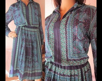 Vintage 70s dress dress hippie Paisley Lurex M/L