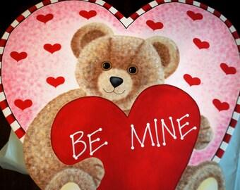 Be Mine Heart n' Bear - Valentine Yard Stake Wood Decoration