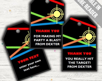 Laser Tag Party Favor Tags (Laser Tag Thank You Tags). Printable PDF (EDITABLE). Instant Download.