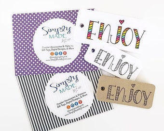 Happy Mail Packaging / Enjoy Gift Tags / Enjoy Kraft Tags / Custom Hang Tags / Gift Wrap & Packaging / Spring Gift Tags