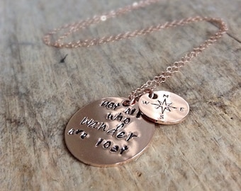 Wanderlust Necklace, 14K Rose Gold Fill Necklace, Not All Who Wander Are Lost, Gift For Her, Graduation Gift, Free Spirit, Compass Necklace