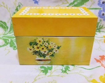 Vintage Recipe box Ohio art bryan ohio yellow daisy metal yellow flowers