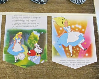Alice in Wonderland Birthday Bunting - Nursery Party Supplies Mad Hatter White Rabbit Cheshire Cat - Queen of Hearts Upcycled Homewares