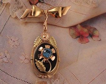 Dorsons Vintage Floral Locket Gold Filled Bow Brooch