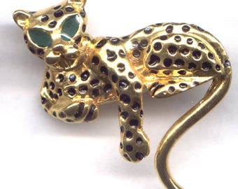 Unsigned Leopard Figural Brooch  Black and Green Enamel   Item: 11081