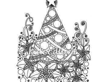 Instant Digital Download - Coloring page - Christmas Tree Doodle