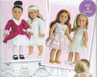 """Simplicity 8280 or 0536 American Girl 18"""" Doll Clothes Sewing Pattern New UNCUT"""