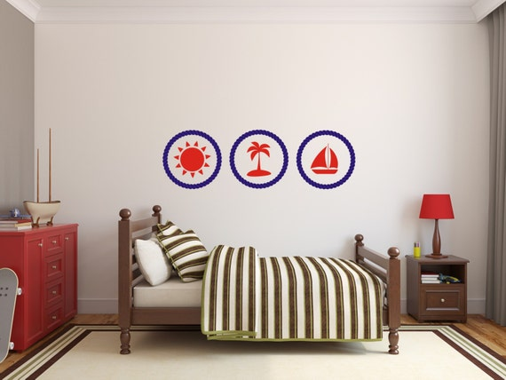 Nautical Wall Decals Rope Frames Girls Wall Decals Beach Ball Swimsuit and Sunglasses Decals Wall Nautical Stickers,