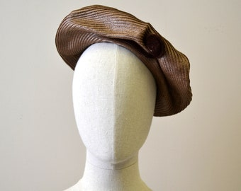 1940s New York Creations Brown Straw Fiddlehead Hat