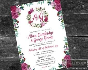 Monogram Wedding invitations in romantic floral. Printable Invitations. Purple, plum, burgandy watercolour floral.