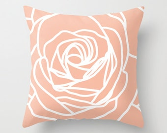 Rose Pillow with insert - Modern Flower - Peach - Pastel Home Decor - Accent Pillow - Modern - Decorative Pillow - Designer Flower Pillow