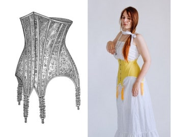 Underbust style Edwardian corset, 1900's Edwardian Corset in yellow pure silk, One-Layer Art-Nouveau Era Corset, Edwardian Clothing