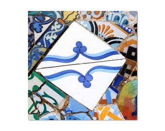 Spanish tile Gaudi, Wall Art wall prints, Mosaic tile, wall prints, Fine Art, Barcelona art
