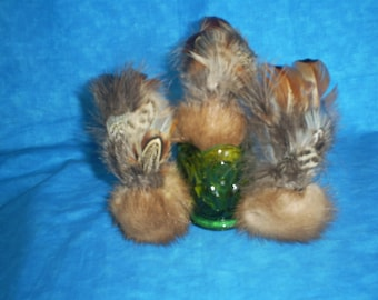 1 Recycled, assorted real fur and  feathers CAT TOYS with organic catnip.